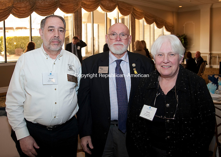 WATERBURY, CT 02 APRIL 2013--040213JS07--Bruce Bratton of Profnet of Waterbury with Stephen W. Mindera, Jr,. and Diane Mindera of Skye Cable XIII, Inc., at the Waterbury Regional Chamber's 123rd Annual Meeting and Luncheon held Tuesday at the La Bella Vista at the Ponte Club in Waterbury. .Jim Shannon Republican-American.