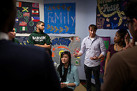 Trainer Patrick Bourke, center, talks with students from the Babsou Posse 11, during small group activities at the Posse Foundation in New York, NY on April 01, 2014. Students in the Posse Foundation are chosen as scholars and go through college prep together as seniors in high school then attend the same college campus together where they get ongoing support. The Posse Foundation has identified, recruited and trained 5,544 public high school students with extraordinary academic and leadership potential to become Posse Scholars over the past 25 years.