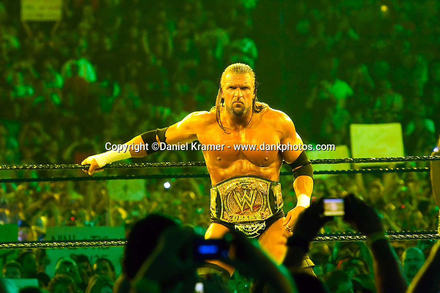 Triple H poses for the cameras before the WWE Championship match against Randy Orton at WrestleMania 25 at Reliant Stadium on April 5, 2009 in Houston, Texas.