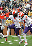 07 October 2006: Clemson's Duane Coleman (3) celebrates with Chris Clemons (22) after recovering a fumble. The Clemson University Tigers defeated the Wake Forest University Demon Deacons 27-17 at Groves Stadium in Winston-Salem, North Carolina in an Atlantic Coast Conference NCAA Division I College Football game.