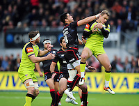 Matthew Tait of Leicester Tigers claims the ball in the air. Aviva Premiership match, between Saracens and Leicester Tigers on October 29, 2016 at Allianz Park in London, England. Photo by: Patrick Khachfe / JMP