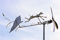 Large, Artistic, and Whimsical, Modern Folk Art Dog Weather Vane / Weathervane