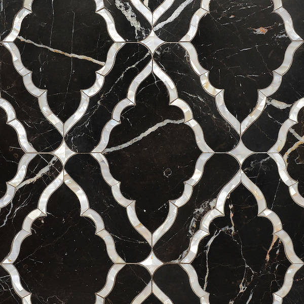 Josephine, a waterjet mosaic shown in Shell and Venetian honed Saint Laurent, is part of the Aurora&trade; Collection by Sara Baldwin for New Ravenna.<br /> <br /> For pricing samples and design help, click here: http://www.newravenna.com/showrooms/