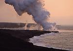 Hawaii Volcanoes NP lava flow into ocean