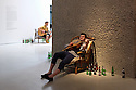 London, UK. 20.07.2016. Ragnar Kjartansson's solo exhibition at the Barbican Gallery.  Bringing together live performance, music, film, painting, sculpture and drawing, this solo exhibition is the first in the UK to survey the work of the Icelandic artist, Ragnar Kjartansson. Picture shows: Take Me Here by the Dishwasher: Memorial for a Marriage, 2011-2014<br /> Performance installation from 14 July to 4 September, eight hours daily Music by Kjartan Sveinsson. Photograph &copy; Jane Hobson.