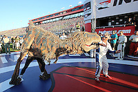 August 30, 2014 Fontana, CA: Mario Andretti and Baby T-REX from Walking with Dinosaurs