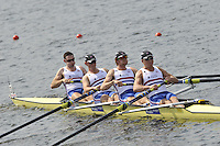 Brest, Belarus. GBR BM4-, Bow Nathaniel REILLY-O'DONNELL, Matthew ROSSITER, George NASH and Constantine LOULOUDIS, at the  the start.  2010. FISA U23 Championships. Thursday,  22/07/2010.  [Mandatory Credit Peter Spurrier/ Intersport Images]