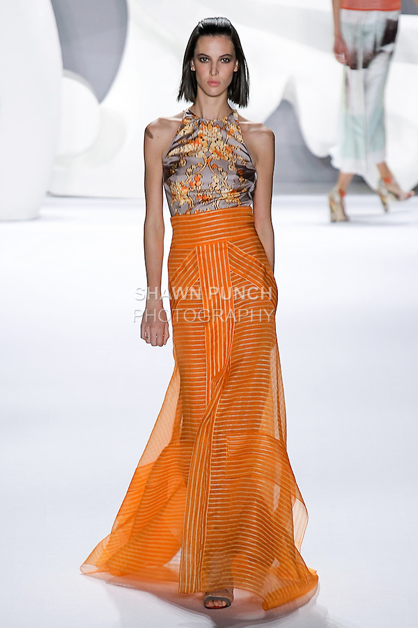 Ruby walks runway in an outfit from the Carolina Herrera Spring 2013 Timeless Influence collection, during Mercedes-Benz Fashion Week Spring 2013 in New York City.