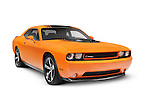 Orange 2014 Dodge Challenger muscle car isolated on white background with clipping path