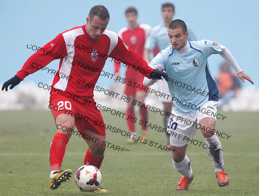 Fudbal Super liga season 2013-2014<br /> Rad v Vozdovac<br /> Rade Veljovic (L) and Vladimir Rodic<br /> Beograd, 01.12.2013.<br /> foto: Srdjan Stevanovic/Starsportphoto &copy;