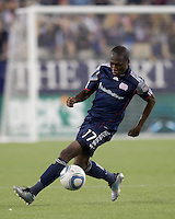 New England Revolution midfielder Sainey Nyassi (17) traps the ball. In a Major League Soccer (MLS) match, Chivas USA defeated the New England Revolution, 3-2, at Gillette Stadium on August 6, 2011.