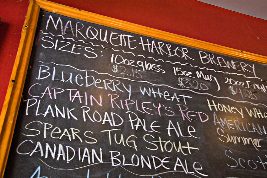 Beers available at The Vierling Restaurant and Marquette Harbor Brewery in downtown Marquette Michigan.