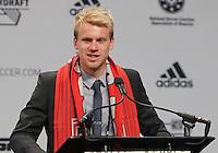 Indianapolis, IN, Thursday, Jan. 17, 2013: 2013 MLS Superdraft number three pick Kyle Bekker goes to Toronto FC.