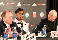 Rev. Mario Dorsonville and Christian Castillo listen to Kevin Payne talk at a press conference to announce a charity match between D.C. United and the national team of El Salvador on June 19, 2010. RFK Stadium, Washington DC, May 4 2010.