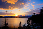 Idaho, North, Coeur d'Alene. Sunset over Lake Coeur d'Alene.