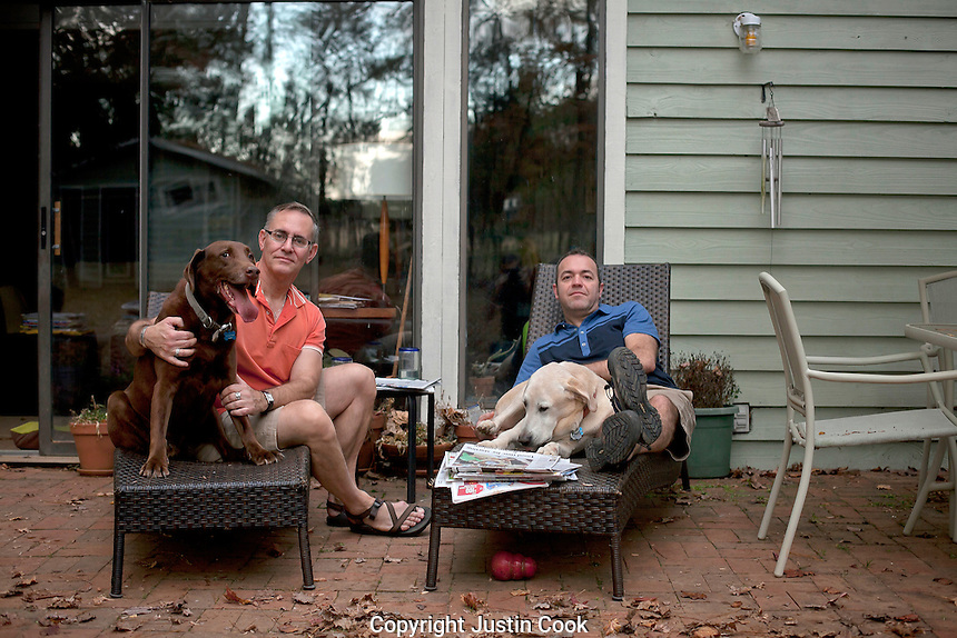 Brett Webb-Mitchell and Dean Blackburn. Together for 16 years, Chapel Hill, NC.