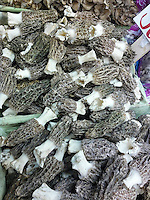 Morel mushrooms for sale in a grocery store in New York on Monday, March 28, 2016. (© Richard B. Levine)