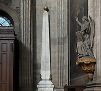 Gnomon or Meridian Line, installed 1743, and sculpture of St Peter, Eglise Saint-Sulpice (St Sulpitius' Church), c.1646-1745, Paris, France. The Gnomon, an astronomical instrument installed with the approval of the Observatory, running from the nave to this obelisk, features in the popular novel, The Da Vinci Code, 2003, by Dan Brown. Picture by Manuel Cohen