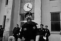 "Russelville, AL, USA , May 9th 2009.Lawrence Grant, ""Imperial Khaliff"", delivers his racist speech; he is the designated successor of Ray Larsen, ""International Imperial Wizard"". A Ku Klux Klan rally in front of Russellville's  courthouse in northern Alabama, very few inhabitants attend. Since President Obama was elected on Nov. 4th, 2008, the Ku Klux Klan has seen new memberships applications being multiplied by 6 compared to the previous year!"