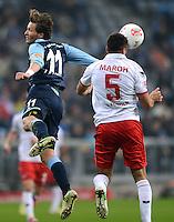 Fussball 2. Bundesliga:  Saison   2012/2013,    14. Spieltag  TSV 1860 Muenchen - 1. FC Koeln  16.11.2012 Benjamin Lauth (li, 1860 Muenchen) gegen Dominic Maroh (1. FC Koeln)