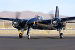 Grumman F7F Tigercat taxiing on the ramp during the Reno National Championship Air Races. There were 364 of the twin engined fighters built during World War II, and shortly thereafter, of which there are six that are still considered airworthy. Originally Grumman had been contracted to build 500 of the aircraft for use by the US Marine Corps to be used as close air support of the landing operations that were planned in the Pacific.