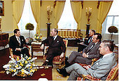 United States President Ronald Reagan meets with (left to right) Joseph M.A.H. Luns, Secretary General of the North Atlantic Treaty Organization (NATO), Richard Allen, U.S. Vice President George H.W. Bush, and Secretary of State Alexander Haig in the Yellow Oval Room of the White House in Washington, D.C. on Thursday, April 16, 1981..Mandatory Credit: Michael Evans - White House via CNP