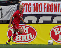 Canadian defender  Lauren Sesselmann (16) looks to pass. In an international friendly, Canada defeated Brasil, 2-1, at Gillette Stadium on March 24, 2012.