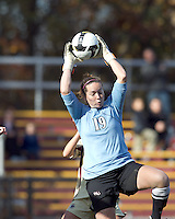 Florida State goalkeeper Kelsey Wys (19) grabs corner kick. Florida State University defeated Boston College, 1-0, at Newton Soccer Field, Newton, MA on October 31, 2010.
