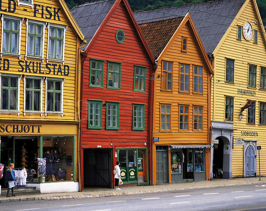 Brightly-coloured traditional Norwegian timber merchants' houses in Bryggen, Bergen, Norway