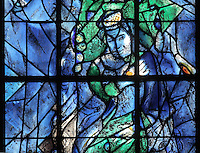 King Saul rejected as King, stained glass window, 1974, by Marc Chagall, 1887-1985, with the studio of Jacques Simon, in the axial chapel of the apse of the Cathedrale Notre-Dame de Reims or Reims Cathedral, Reims, Champagne-Ardenne, France. The cathedral was built 1211-75 in French Gothic style with work continuing into the 14th century, and was listed as a UNESCO World Heritage Site in 1991. Picture by Manuel Cohen