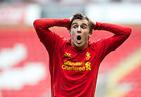 LIVERPOOL, ENGLAND - Easter Monday, April 1, 2013: Liverpool's Adam Morgan reacts after being denied a penalty against Tottenham Hotspur during the Under 21 FA Premier League match at Anfield. (Pic by David Rawcliffe/Propaganda)