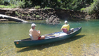NWA Democrat-Gazette/FLIP PUTTHOFF<br /> Ross (left) and Graham work a promising spot for smallmouth bass August 20 2015 on Big Suar Creek.
