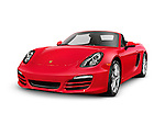 Red 2014 Porsche Boxster S Convertible luxury sports car isolated on white background with clipping path
