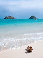 "Islands of N? Mokulua, ""the Moks"", seen from Lanikai Beach, O'Ahu, Hawai?i"