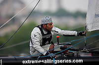Extreme Sailing Series 2011. Act 3.Turkey . Istanbul.The Wave Muscat bowman Khamis Al Anbouri .Credit Lloyd Images