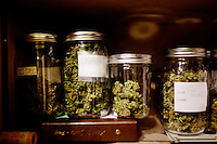 "Laguna Woods, California, October, 26, 2010 - Jars of marijuana are kept in a safe in the home of Lonnie Painter, a resident at the 18,000 plus person Laguna Woods Village and the chairman of the marijuana dispensary there, Laguna Woods for Medical Cannabis. He says he keeps the jars in there just to be on the safe side. As the head of the organization it is his responsibility to make sure that the group follows the laws. ""We do this by the book, to the letter of the law. We are not potheads. We are people with legitimate medical needs.,"" said Painter. The group has about one hundred members, many suffering from difficult conditions such as cancer and multiple sclerosis. Painter added, ""We are all volunteers on the board here. We do this to try to help people in need."" Indeed, many of the purported health benefits of marijuana target problems that typically plague older people, such as chronic shingles, arthritis pain, and symptoms of multiple sclerosis and cancer, such as loss of appetite, chronic pain and nausea. "" We do this by the book, to the letter of the law. We are not potheads. We are people with legitimate medical needs."" California's Compassionate Use Act, passed in 1996, allows people with a prescription to use and cultivate medicinal marijuana. ."