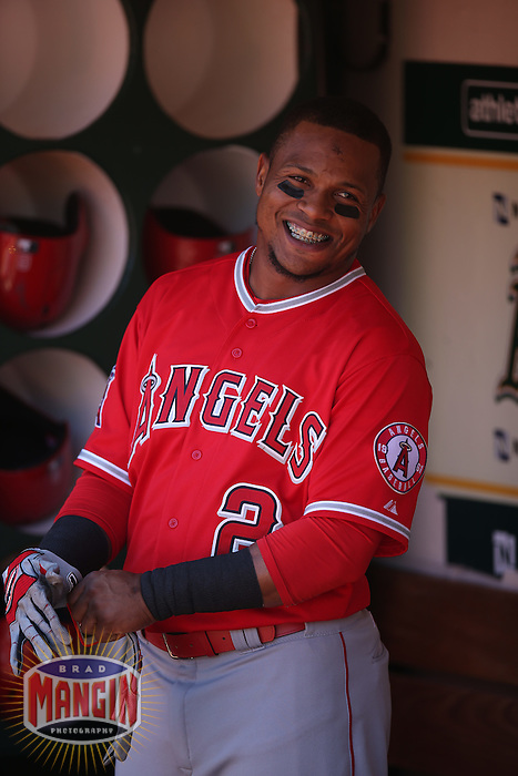 OAKLAND, CA - APRIL 30:  Erick Aybar #2 of the Los Angeles Angels smiles in the dugout before the game against the Oakland Athletics at O.co Coliseum on Thursday, April 30, 2015 in Oakland, California. Photo by Brad Mangin