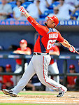 28 February 2011: Washington Nationals' infielder Kevin Barker in action during a Spring Training game against the New York Mets at Digital Domain Park in Port St. Lucie, Florida. The Nationals defeated the Mets 9-3 in Grapefruit League action. Mandatory Credit: Ed Wolfstein Photo