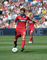 Chicago defender Arne Friedrich (23) kicks the ball.  The LA Galaxy defeated the Chicago Fire 2-0 at Toyota Park in Bridgeview, IL on July 8, 2012.