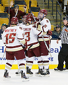 Joe Whitney (BC - 15), Brian Gibbons (BC - 17), Cam Atkinson (BC - 13), Patrick Wey (BC - 6) - The Boston College Eagles defeated the Northeastern University Huskies 5-4 in their Hockey East Semi-Final on Friday, March 18, 2011, at TD Garden in Boston, Massachusetts.