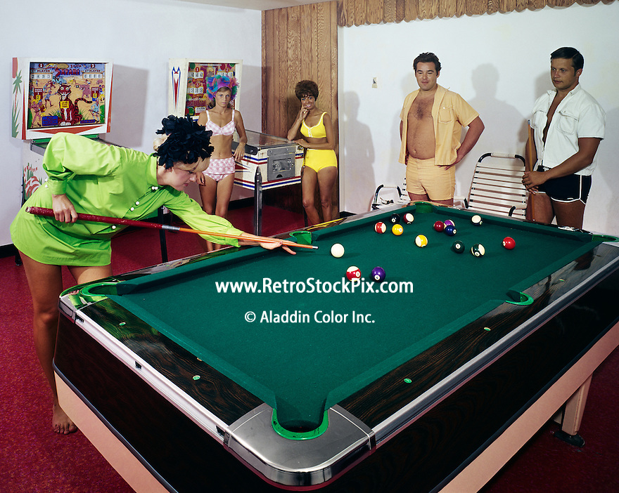 Young women playing pool with friends at the Crusader Motel in Wildwood, NJ. 1960's