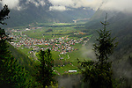 View of homes, surrounding hamlet and countryside from Ehrenberg schloss. Reutte district, Tyrol/Tirol. Austria.