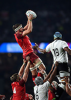 Tom Wood of England wins the ball at a lineout. Rugby World Cup Pool A match between England and Fiji on September 18, 2015 at Twickenham Stadium in London, England. Photo by: Patrick Khachfe / Onside Images