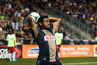 Sheanon Williams (25) of the Philadelphia Union on a throw in. The Philadelphia Union and the Portland Timbers played to a 0-0 tie during a Major League Soccer (MLS) match at PPL Park in Chester, PA, on July 20, 2013.