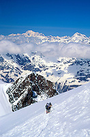Hiking up the Breithorn on the Haute Route, near Zermatt, Switzerland