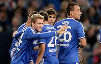 FUSSBALL   CHAMPIONS LEAGUE   SAISON 2013/2014   GRUPPENPHASE FC Schalke 04 - FC Chelsea        22.10.2013 Jubel nach dem 0:1: Andre Schuerrle, Cesar Azpilicueta, Oscar und John Terry (v.l., alle FC Chelsea)