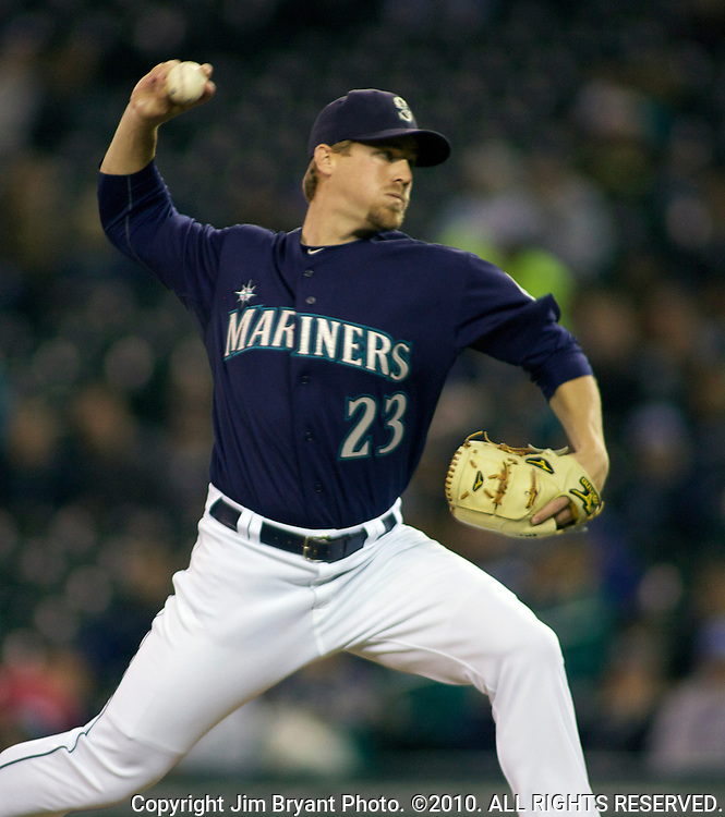 Seattle Mariners' reliever Shawn Kelley throws against the Baltimore Orioles at SAFECO Field in Seattle April 19, 2010. The  Mariners beat the Orioles 8-2. Jim Bryant Photo. ©2010. ALL RIGHTS RESERVED.