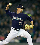 Seattle Mariners' reliever Shawn Kelley throws against the Baltimore Orioles at SAFECO Field in Seattle April 19, 2010. The  Mariners beat the Orioles 8-2. Jim Bryant Photo. &copy;2010. ALL RIGHTS RESERVED.