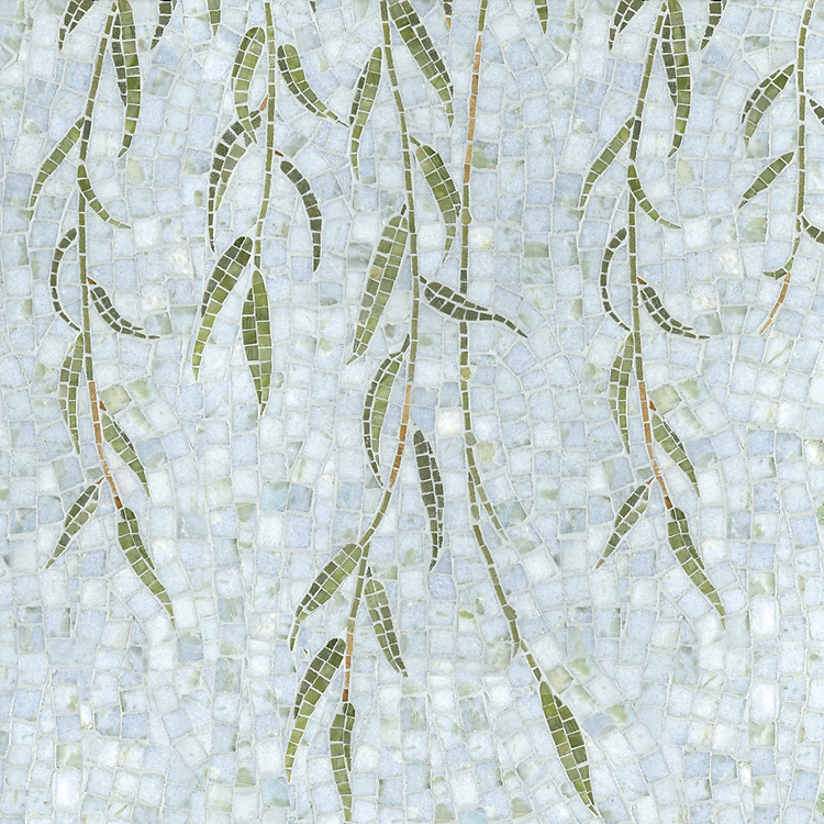 Willow, a natural stone hand cut mosaic, is shown in Celeste, Verde Luna, Travertine Noce, Topax Onyx, Chartreuse (p).