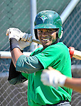 30 June 2012: Vermont Lake Monsters outfielder Kelvin Rojas awaits his turn in the batting cage prior to a game against the Lowell Spinners at Centennial Field in Burlington, Vermont. Mandatory Credit: Ed Wolfstein Photo